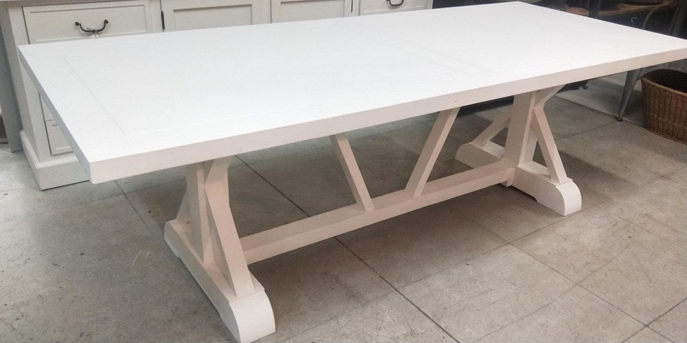 Cross Leg Recycled Pine Dining Table Painted White