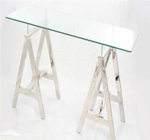 Desk Stainless Steel Legs Glass Top