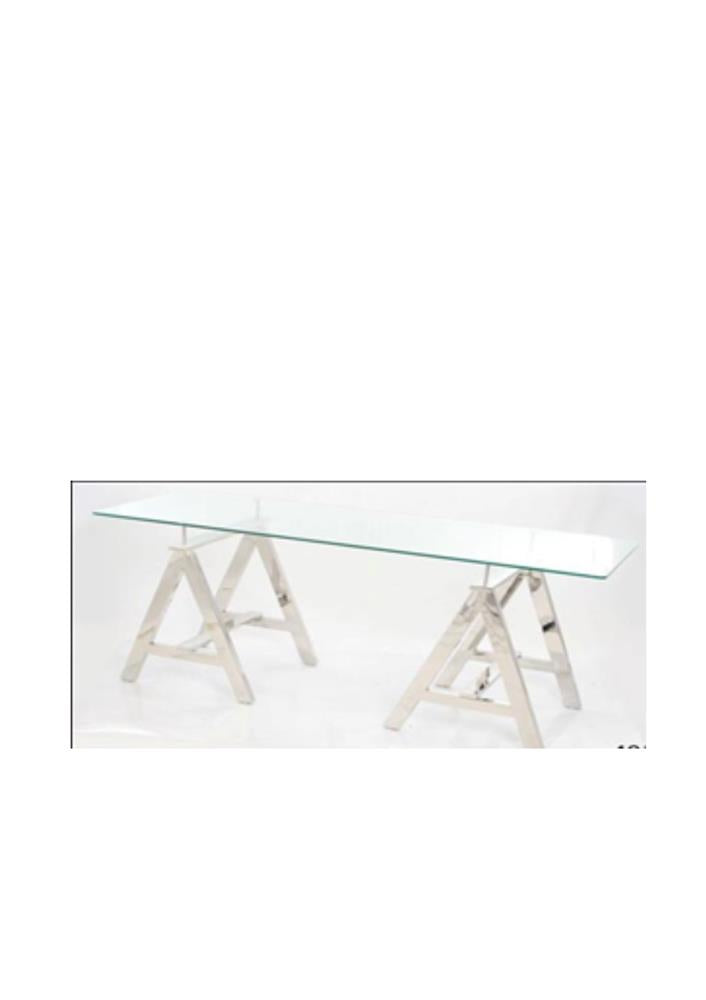 "STEEL ""A"" TABLE WITH 8MM TOUGHENED GLASS SIZE 60X150 CMS BEVELLED EDGE 150X60X80 CM"