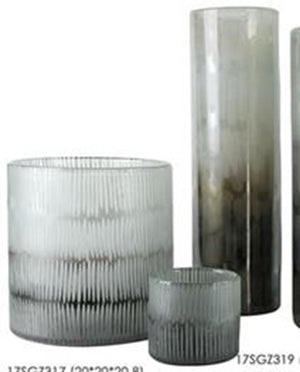 Vertical Cut Smoky Glass Large 21cm