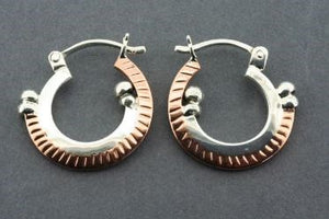Cooper and Silver Deco Circle Hoop