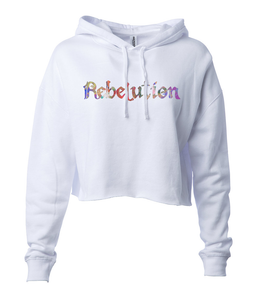 Women's Multicolored Logo Crop Hoodie