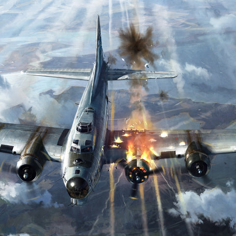 Aviation Painting - High Drama B17 Bomber - Art - The Squawk Shoppe - 1