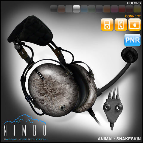Nimbo PNR Aviation Headset - Snakeskin - Wired Passive Noise Canceling Aviation Headset - The Squawk Shoppe