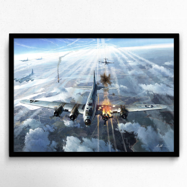 Aviation Painting - High Drama B17 Bomber - Art - The Squawk Shoppe - 3