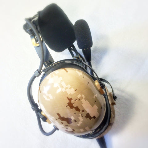 Nimbo PNR Aviation Headset - Digital Desert Sand Camo - Wired Passive Noise Canceling Aviation Headset - The Squawk Shoppe