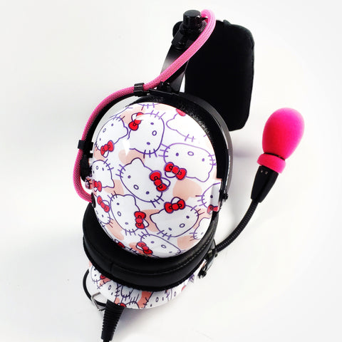 Arcus ANR Aviation Headset - Hello Kitty Heads - Wired Active Noise Canceling Aviation Headset - The Squawk Shoppe - 1