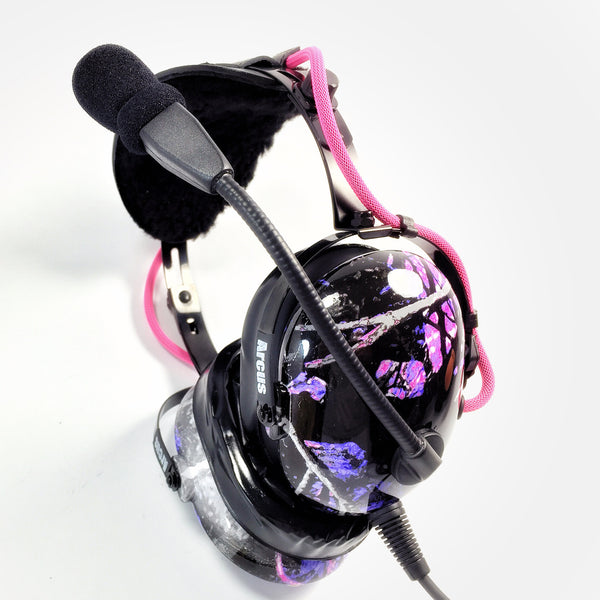 Arcus ANR Aviation Headset - Muddy Girl Camo - Wired Active Noise Canceling Aviation Headset - The Squawk Shoppe - 4