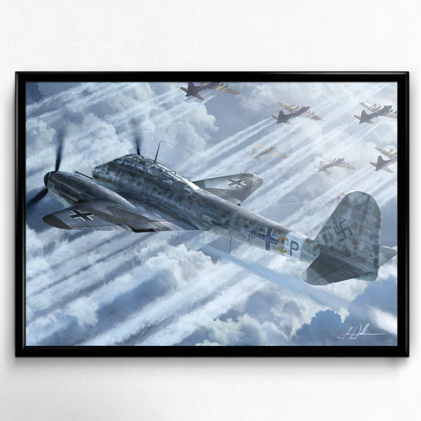 Aviation Painting - Messerschmitt Me 410 Hornisse - Art - The Squawk Shoppe - 3