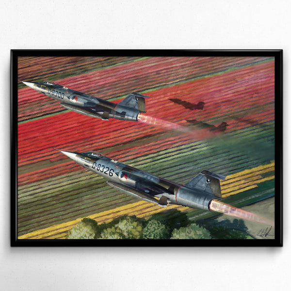 Aviation Painting - F-104 Starfighters over Tulips - Art - The Squawk Shoppe - 3