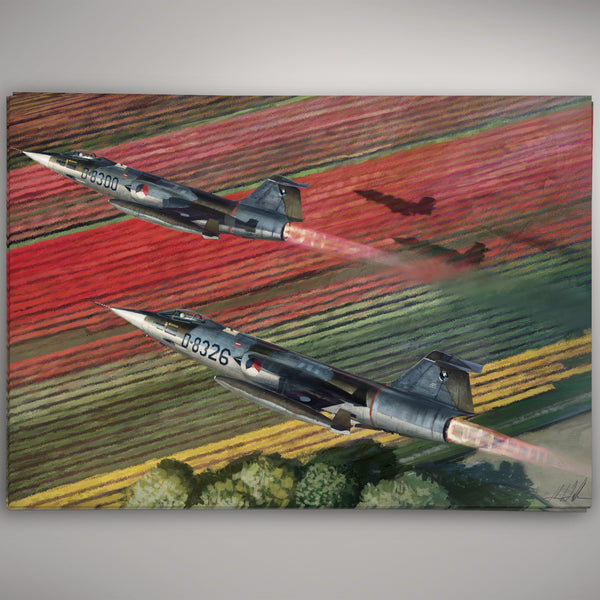 Aviation Painting - F-104 Starfighters over Tulips