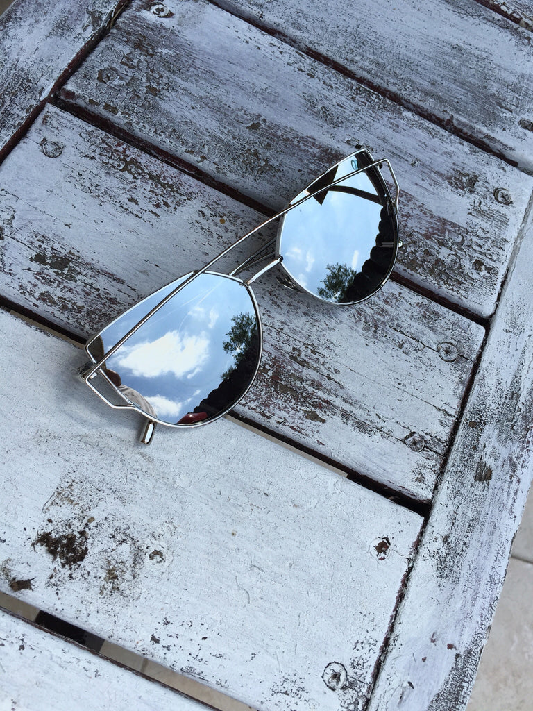 Cat Eyed Mirrored Sunglasses- Silver Lens/ Silver Frame