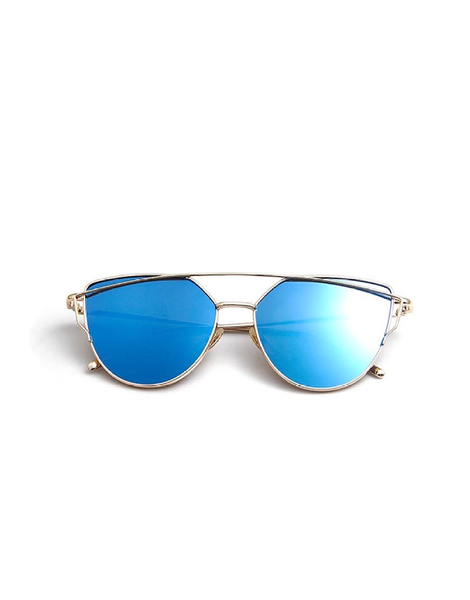 Cat Eye Mirrored Sunglasses - Blue/ Gold Frame