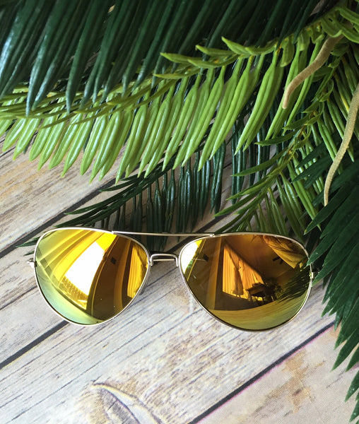 Vintage Reflective Mirror Aviators- Yellow