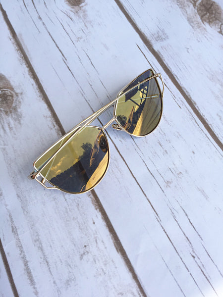 Cat Eyed Mirrored Sunglasses- Gold/ Gold