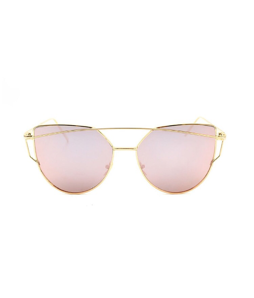 Cat Eye Mirrored Sunglasses - Rosé