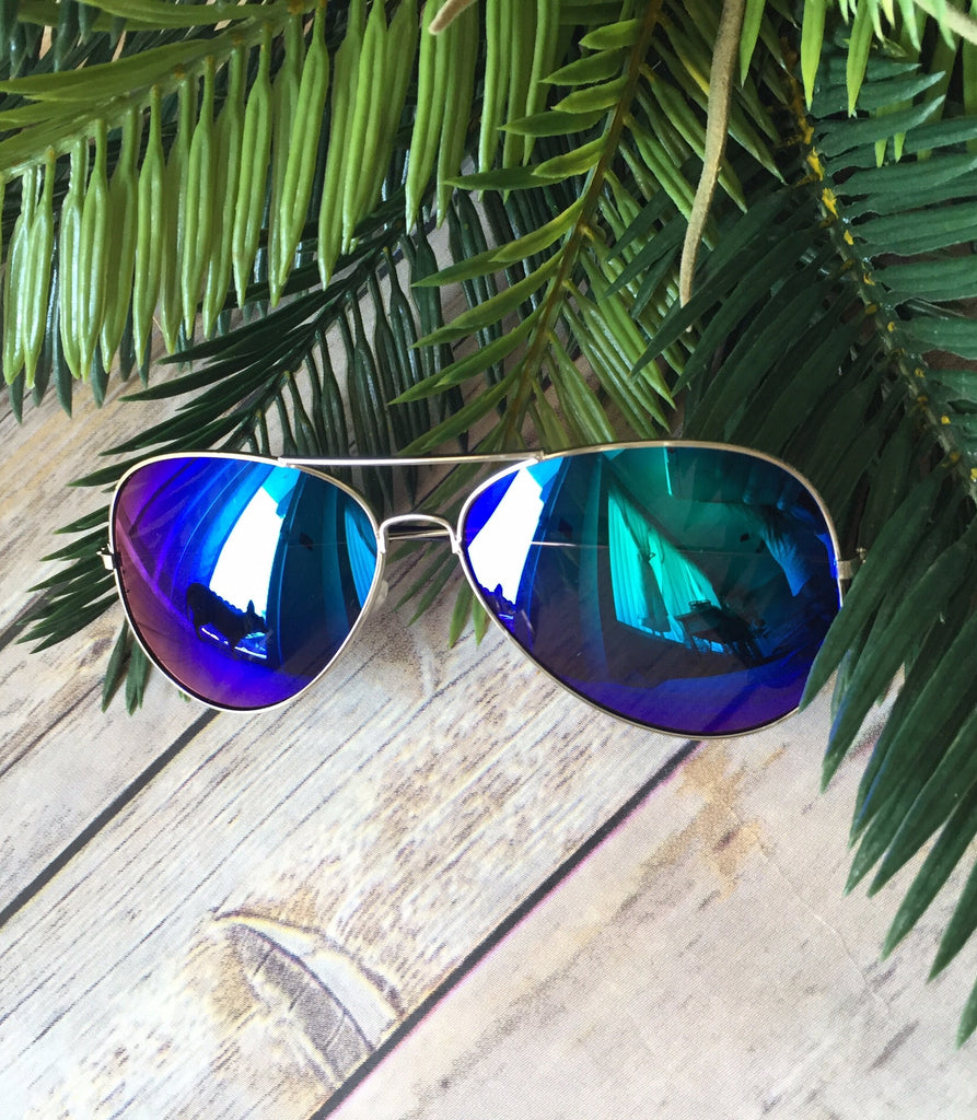 Vintage Reflective Mirror Aviators- Blue/ Purple