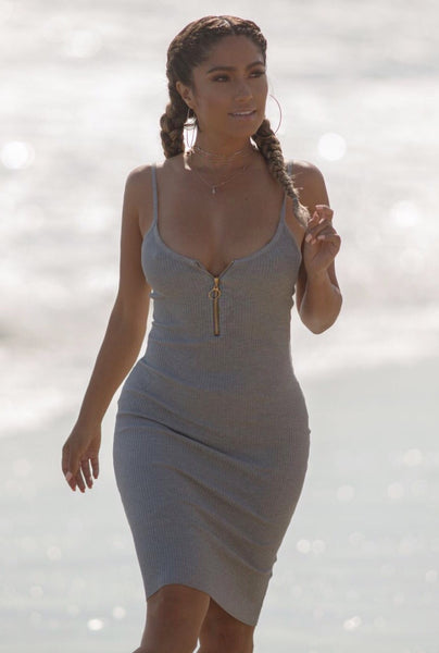 Grey Ribbed Zipper Dress