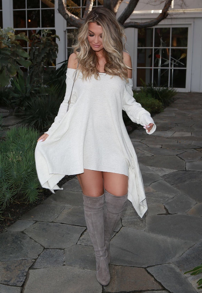 Creme Off the Shoulder Sweater Dress