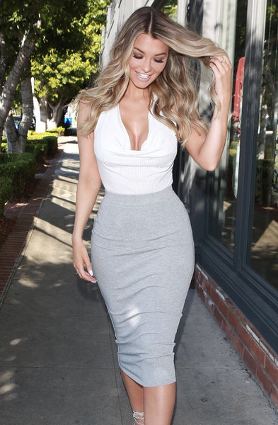Grey High-Waisted Pencil Skirt