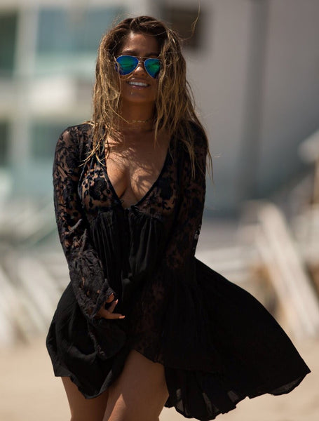 Boho Sheer Lace Vintage Dress