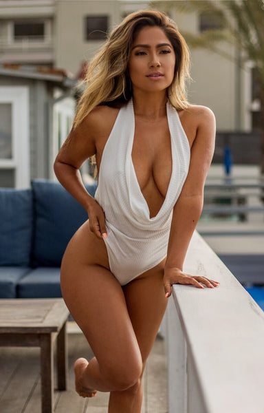 Draped Halter White Bodysuit