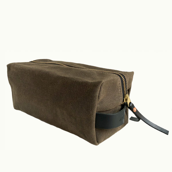 Hudson Made Brown Waxed Cotton Twill Dopp Kit with Leather Handles