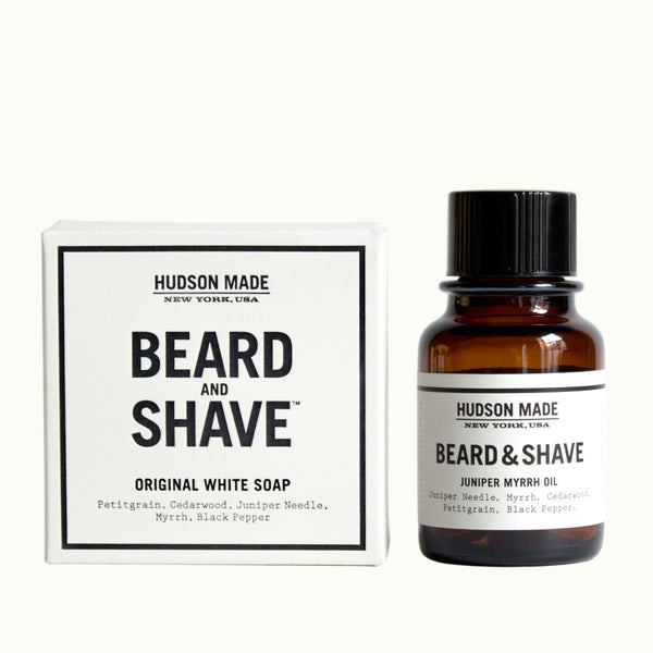 Hudson Made Juniper and Myrrh Beard and Shave Soap and Oil Duo