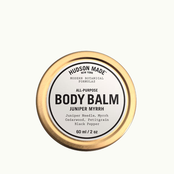 Hudson Made All-Purpose Juniper Myrrh Body Balm with Juniper Needle, Myrrh, Cedarwood, Petitgrain and Black pepper. Modern Botanical Formulas.