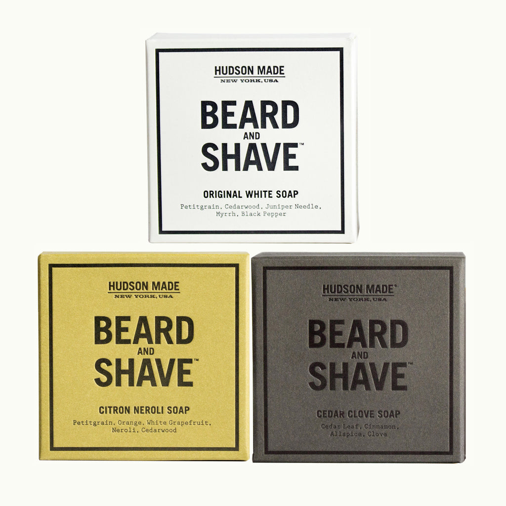 Hudson Made, Three's Never A Crowd Beard and Shave Soap Set. Includes Original White, Citron Neroli and Cedar Clove.