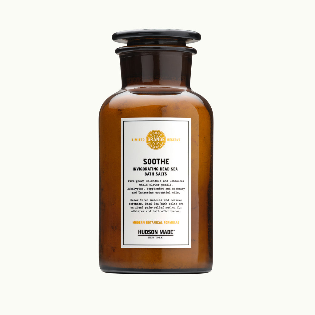 Hudson Made Grange Collection - Soothe Bath Salts with Invigorating Dead Sea Salts , Calendula, Centaurea, Eucalyptus, Peppermint and Rosemary oils. Modern Botanical Formulas