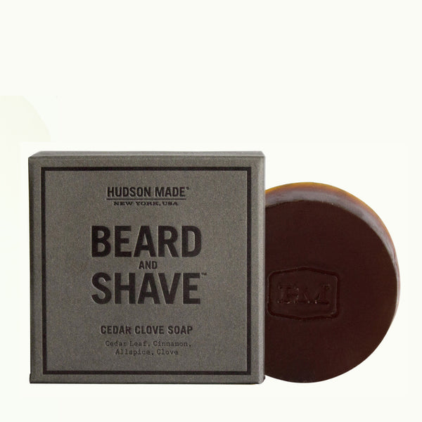 Hudson Made Cedar Clove Beard and Shave Soap with Cedar Leaf, Clove, All Spice and Cinnamon. Skin Detoxing Formula.