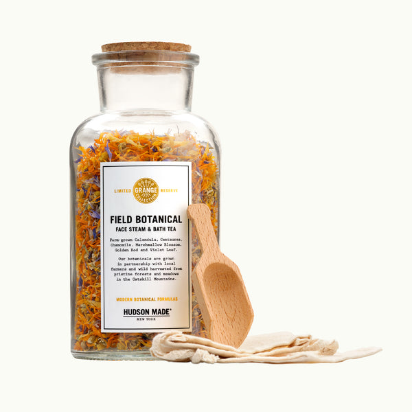 Hudson Made Grange Collection  - Field Botanical Face Steam and Bath Tea with Calendula, Centaurea, Chamomile, Marshmallow, Golden Rod and Violet Leaf - Modern Botanical Formulas