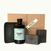 Hudson Made Workers Box Gift Set with Energizing Morning Shift Body Wash, 2 Bars of Tobacco Workers Soap and one Charcoal Ceramic Soap Dish
