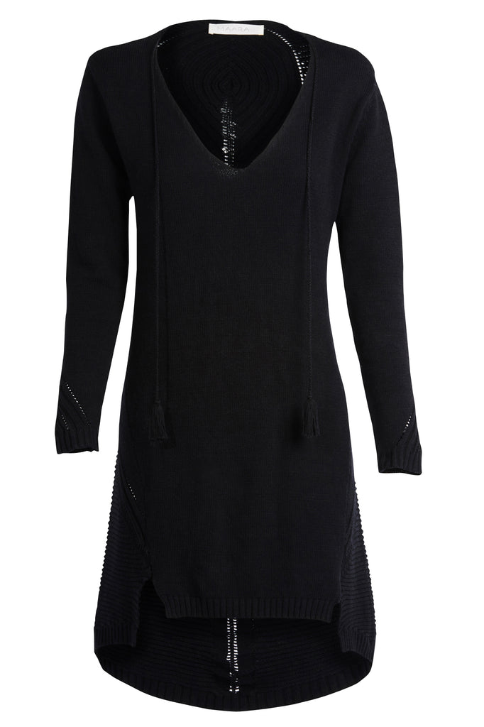 'LEILA' Knit Dress with Back Detail, Black