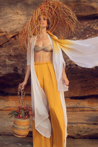 'LENA' WIDE LEG PANT, OCHRE YELLOW - Available September