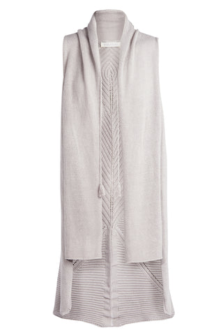 'MIA' Sleeveless Knit Cardi with Back Detail, Ash