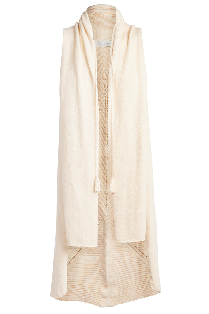 'MIA' Sleeveless Knit Cardi with Back Detail, Natural