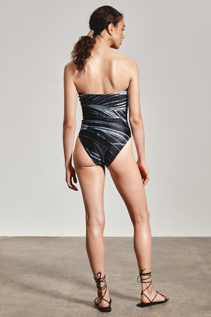 'ALINTA' ONE-PIECE, BLACK DHINAWAN PRINT