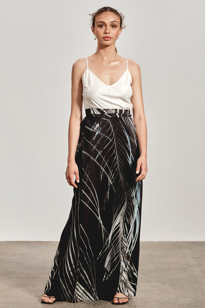 'ALLYRAH' SILK WRAP SKIRT, BLACK DHINAWAN PRINT - ARRIVING NOVEMBER