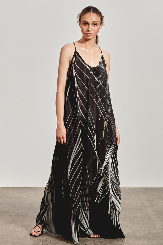 'BINDI' MAXI DRESS, BLACK DHINAWAN PRINT