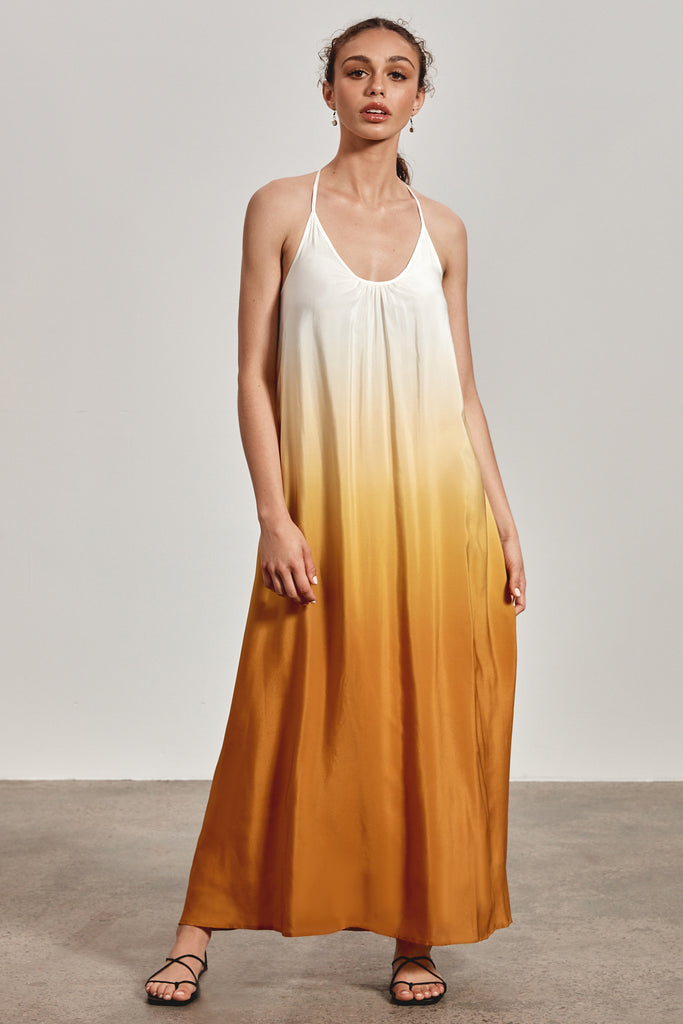 'BINDI' MAXI DRESS, OCHRE YELLOW OMBRE