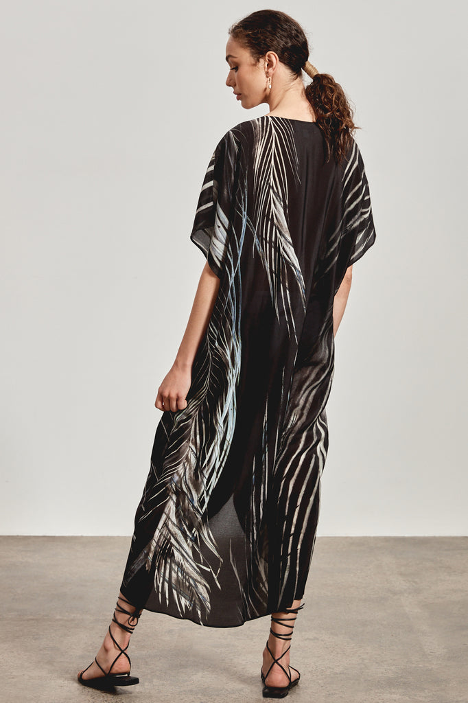 'JEDDA' SILK DRESS, BLACK DHINAWAN PRINT