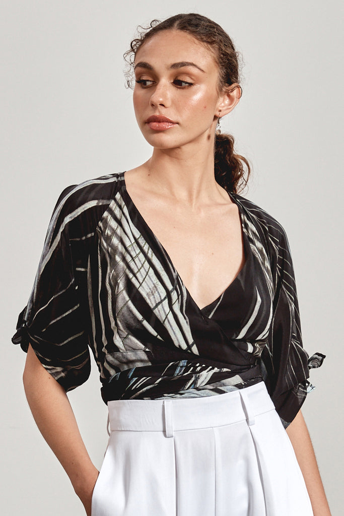 'KIRRA' WRAP TOP, BLACK DHINAWAN PRINT