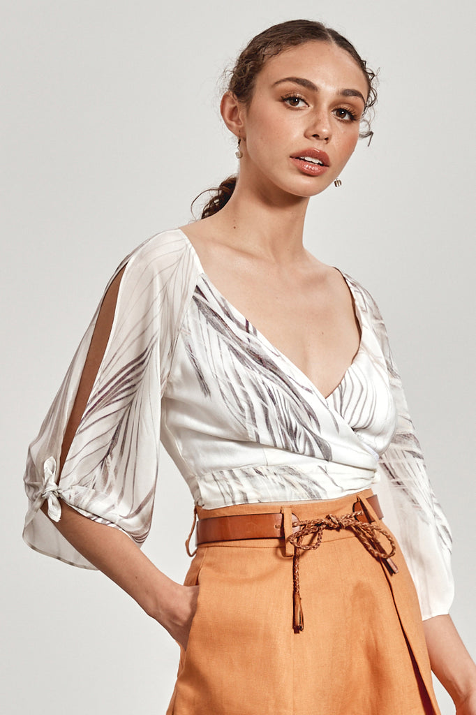 'KIRRA' WRAP TOP, WHITE DHINAWAN PRINT