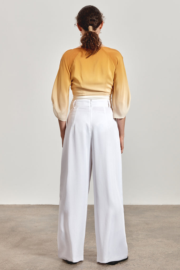 'KIRRA' WRAP TOP, OCHRE YELLOW OMBRE