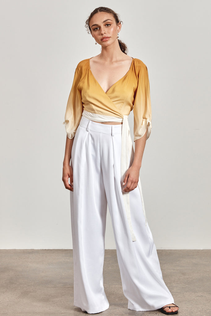 'KIRRA' WRAP TOP, OCHRE YELLOW OMBRE - ARRIVING DECEMBER