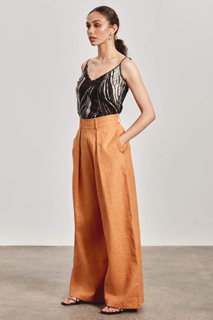 'LENAH' WIDE LEG PANT, RED EARTH