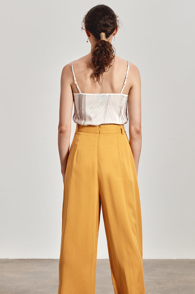 'LENA' WIDE LEG PANT, OCHRE YELLOW
