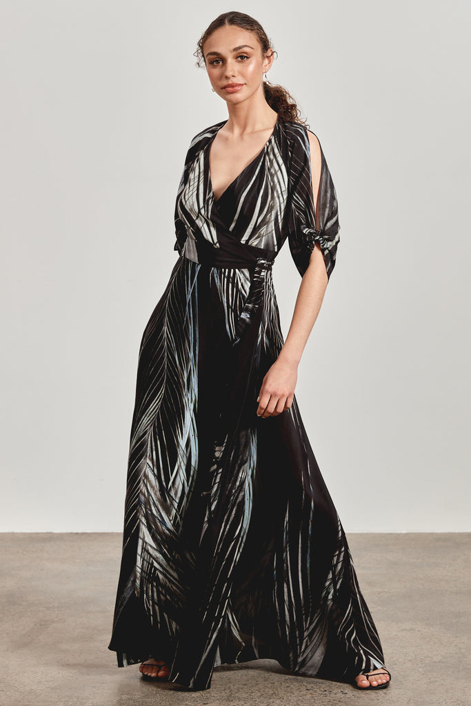 'MAEMAE' WRAP MAXI DRESS, BLACK DHINAWAN PRINT - ARRIVING DECEMBER